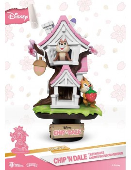 Disney D-Stage PVC Diorama Chip 'n Dale Tree House Cherry Blossom Ver. 16 cm
