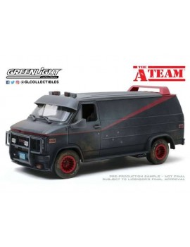 A-Team Diecast Model 1/18 1983 GMC Vandura Weathered Version with Bullet Holes
