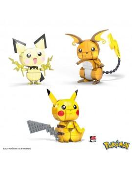 Pokémon Mega Construx Wonder Builders Construction Set Pikachu Evolution Trio 13 cm