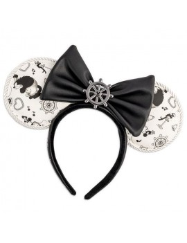 Disney by Loungefly Headband Steamboat Willie Ears Bow Rope Piping