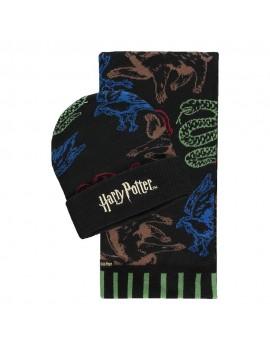 Harry Potter Beanie & Scarf Set Hogwarts Houses Colored