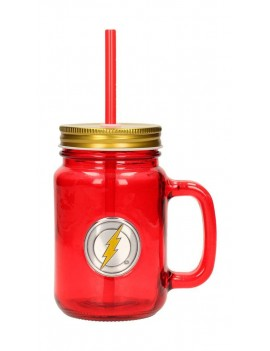 DC Comics Mason Jar Glass Flash Logo