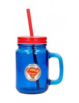 DC Comics Mason Jar Glass Superman Logo