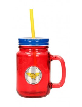 DC Comics Mason Jar Glass Wonder Woman Logo