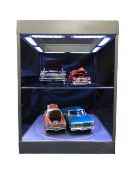 Display Case with Lighting for Model Cars (silver)