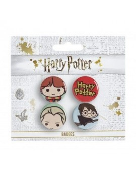Harry Potter Cutie Button Badge 4-Pack Ron & Draco & Harry Broom