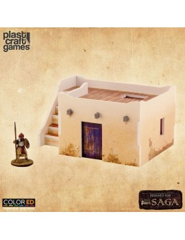 SAGA ColorED Miniature Gaming Model Kit 28 mm Desert Dwelling with Stairs