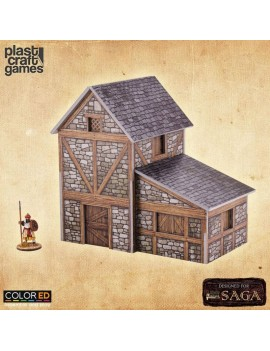SAGA ColorED Miniature Gaming Model Kit 28 mm Two-Story Medieval Dwelling