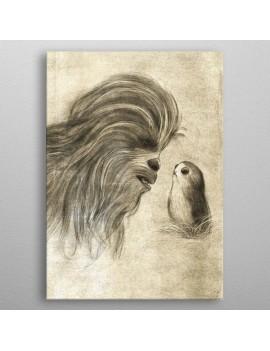 Star Wars Metal Poster Last Jedi Sketches Chewie & Porg 10 x 14 cm