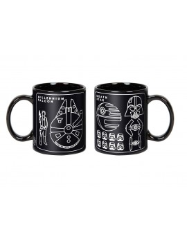 Star Wars XL Mug Millennium Falcon & Death Star Blueprint