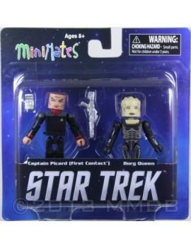 Star Trek Action Figure Captain Picard First Contact e Borg Queen  Minimates